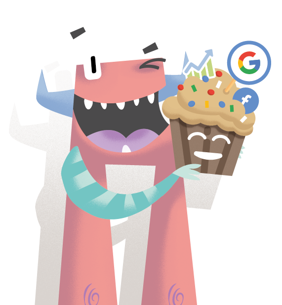 Monster holding the delicious Crmble muffin with Google and Report toppings.