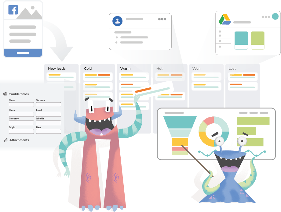 Monster showing how Crmble turns your Trello board into a CRM