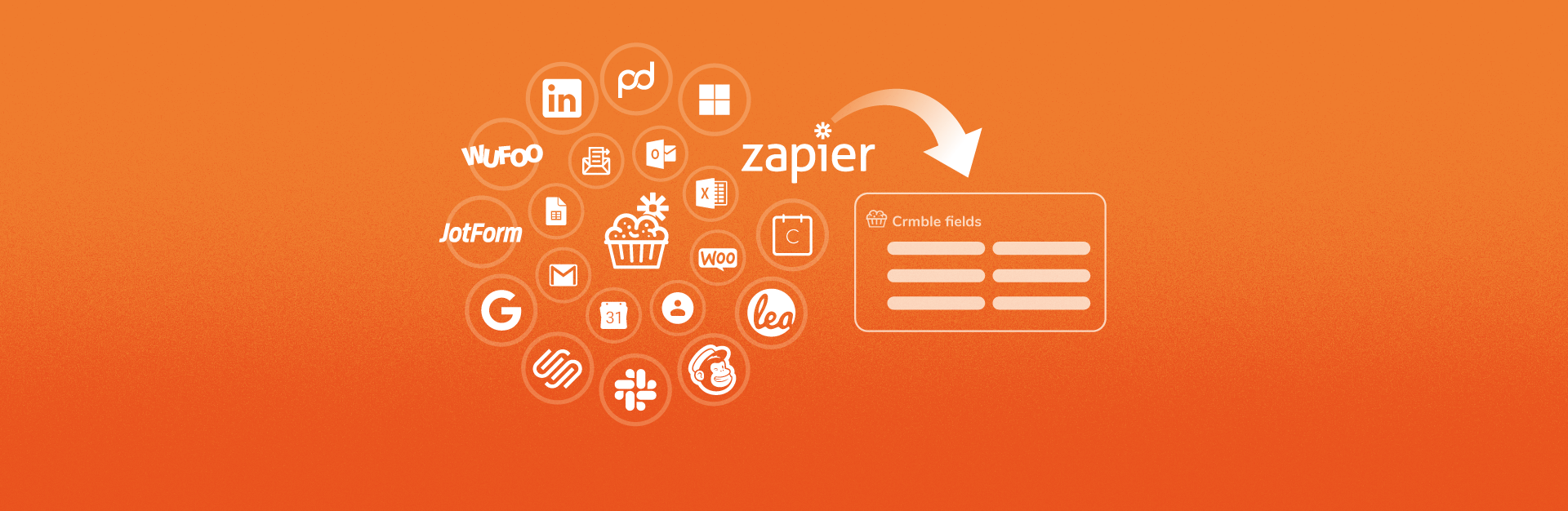 Crmble logo surrounded by a lot of apps you can connect to Crmble thanks to Zapier