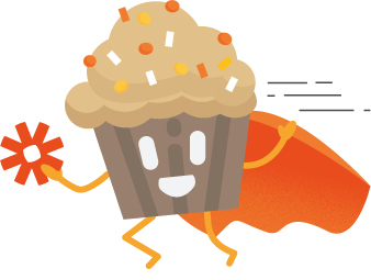 Crmble muffin flying with Zapier Superpower in its hand