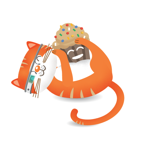 Product Hunt cat playing with Crmble muffin