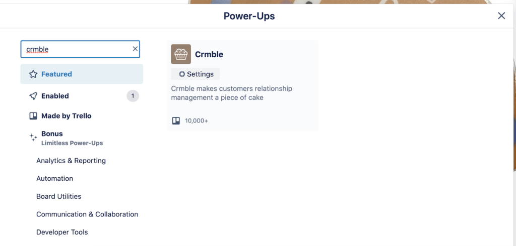 Adding Crmble to your board form Trello's Power-Up market place