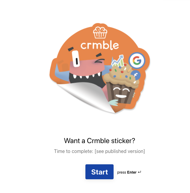Typeform Crmble Sticker order form