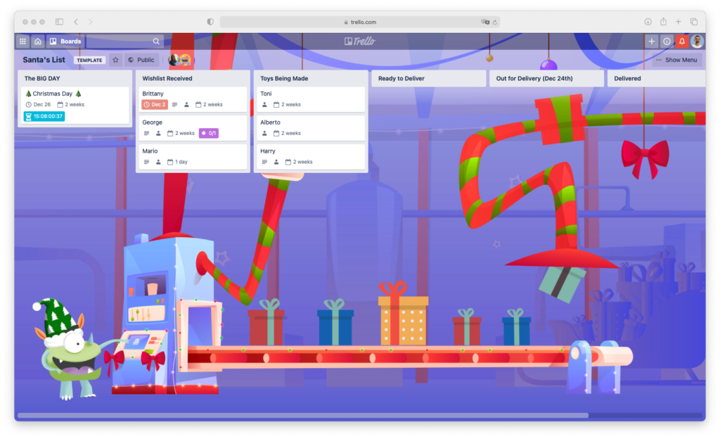 Santas Trello board to get things done