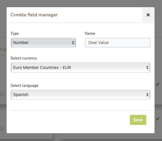 Crmble Deal Value field