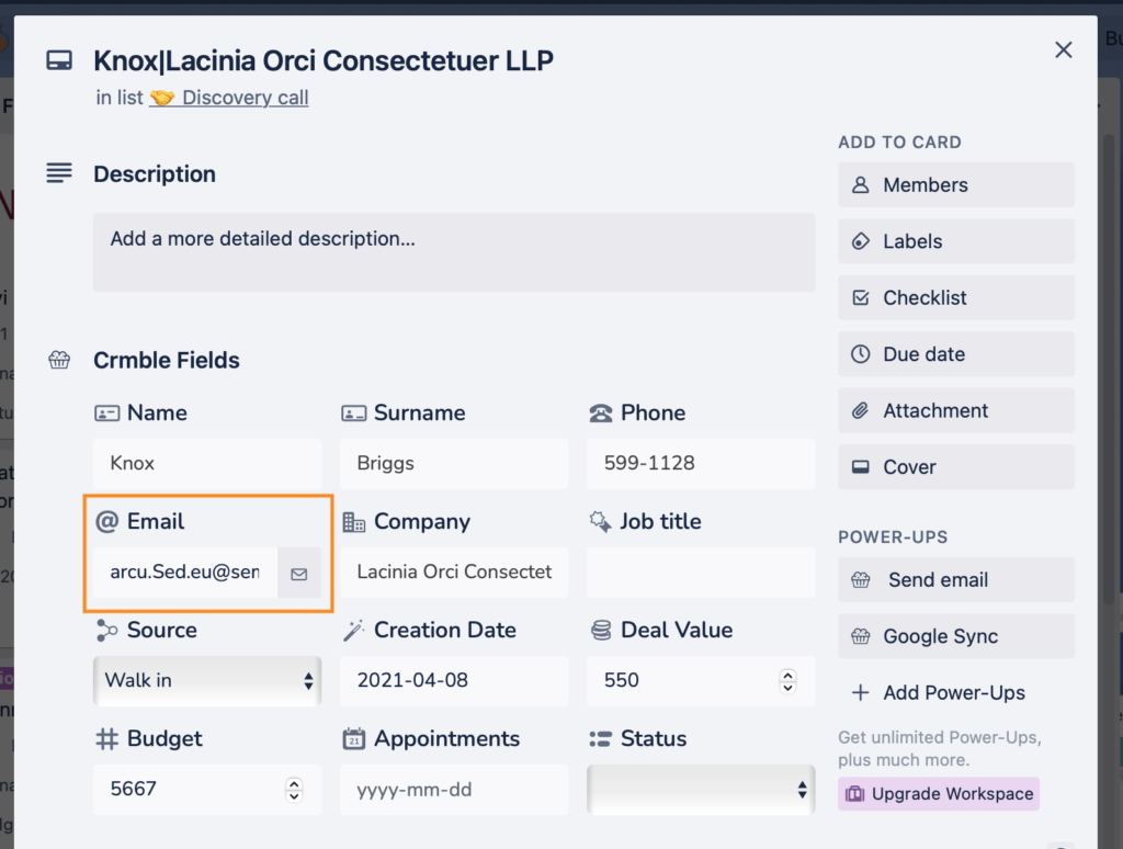 Crmble Fields - Email address