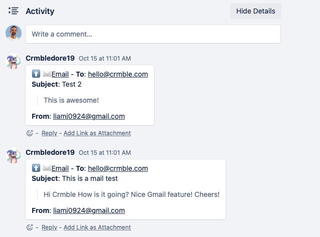 Crmble Gmail Tracking