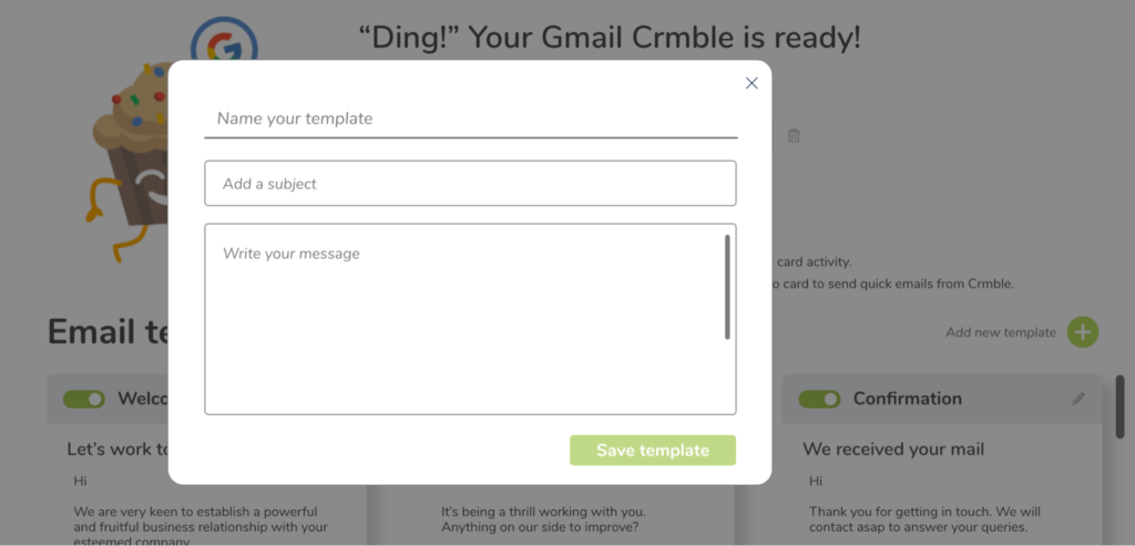 Crmble Gmail Topping - New template setup screen