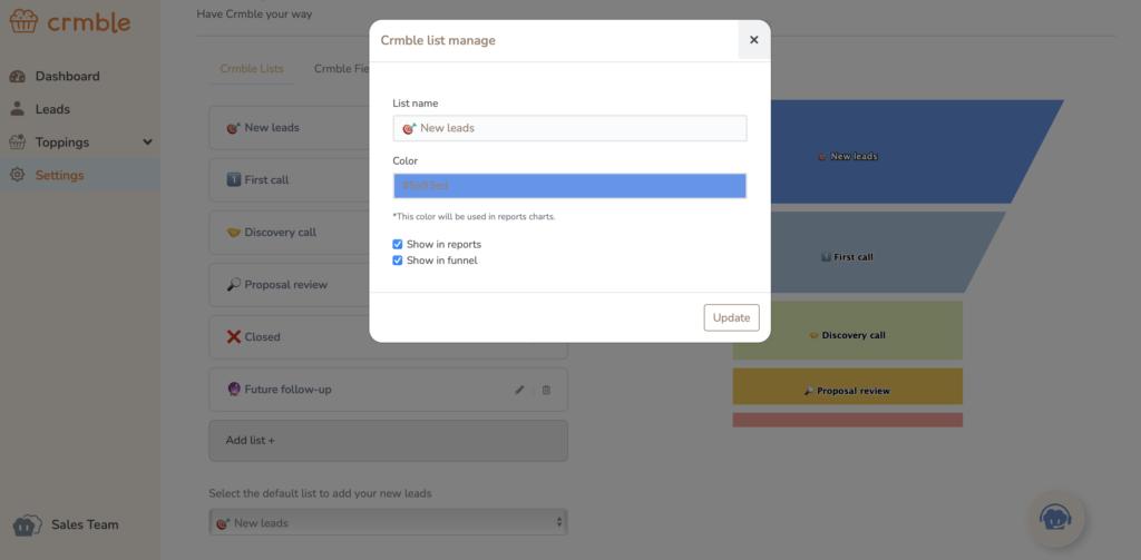 Screen shot of Crmble's lists settings
