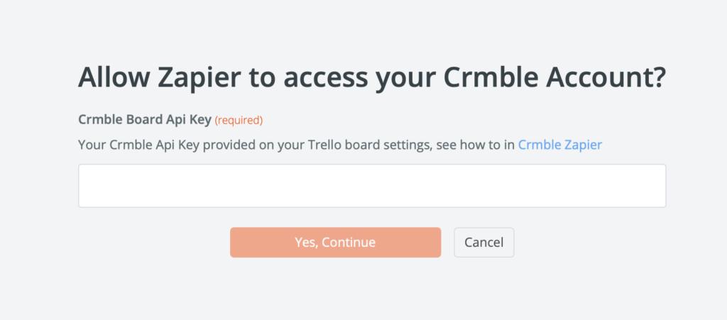 Crmble board Api Key