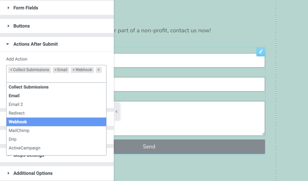 Activate and select Webhook action after submit for Elementor's form widget