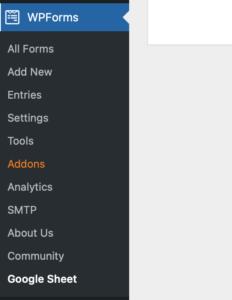 Google Sheet connector radon menu item inside WPForm