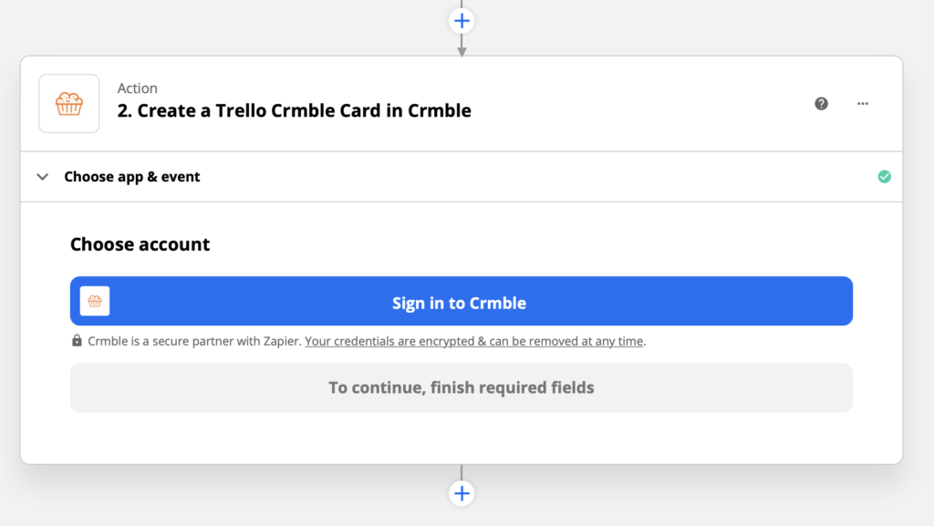 Sign in to Crmble with Zapier