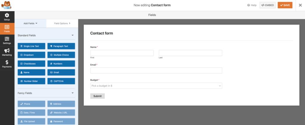 WPForm configuration screen