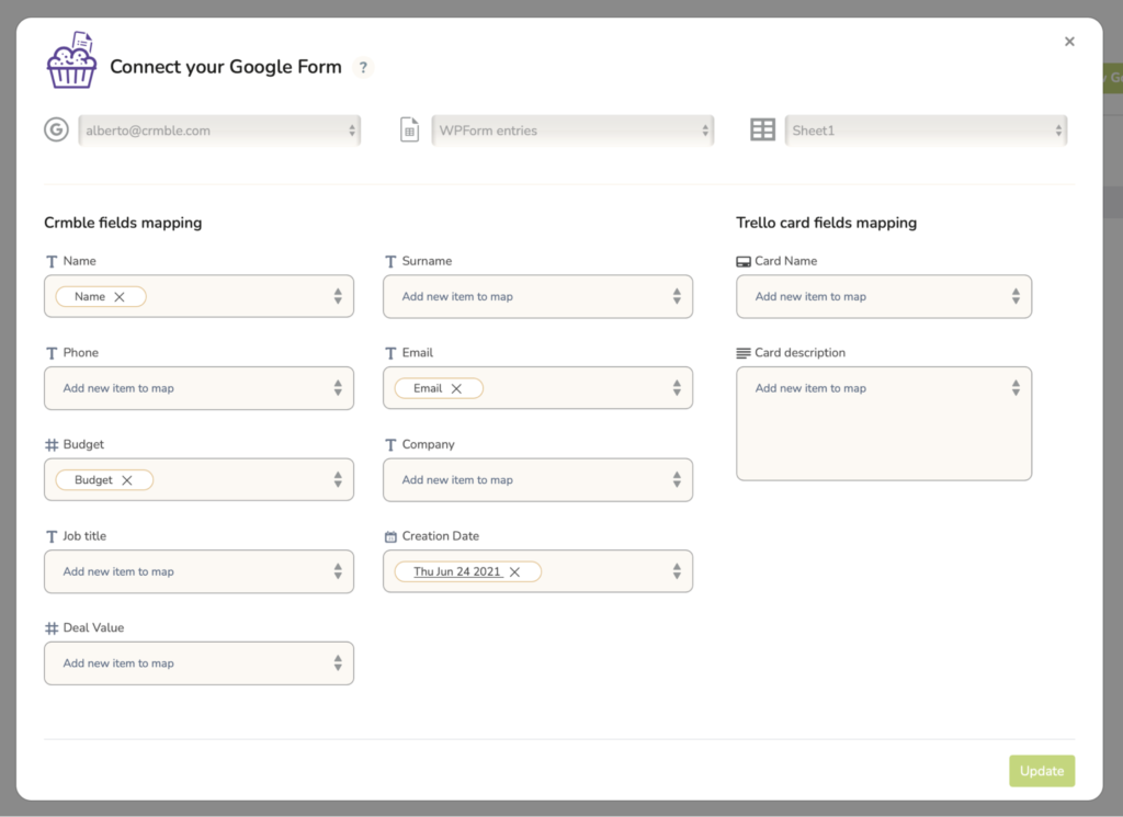 Crmble Google Form Topping