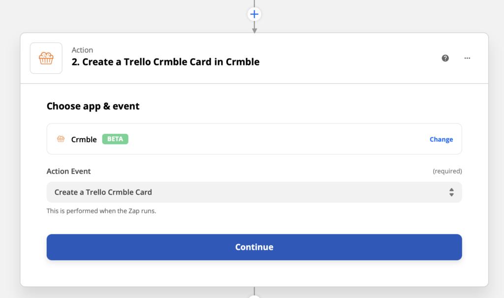 Edit Zapier's Crmble creation card action