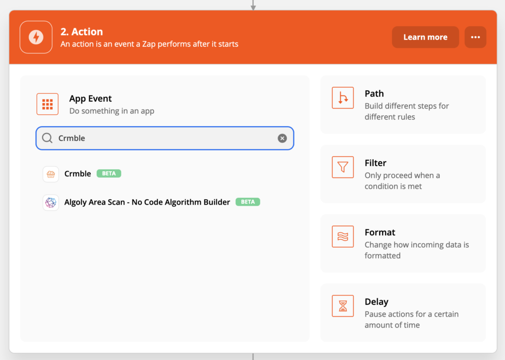 Search Crmble action in Zapier