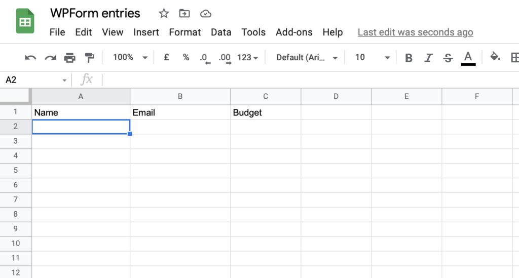 Google Sheet structure
