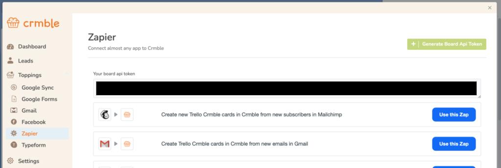 Get your Crmble API Token