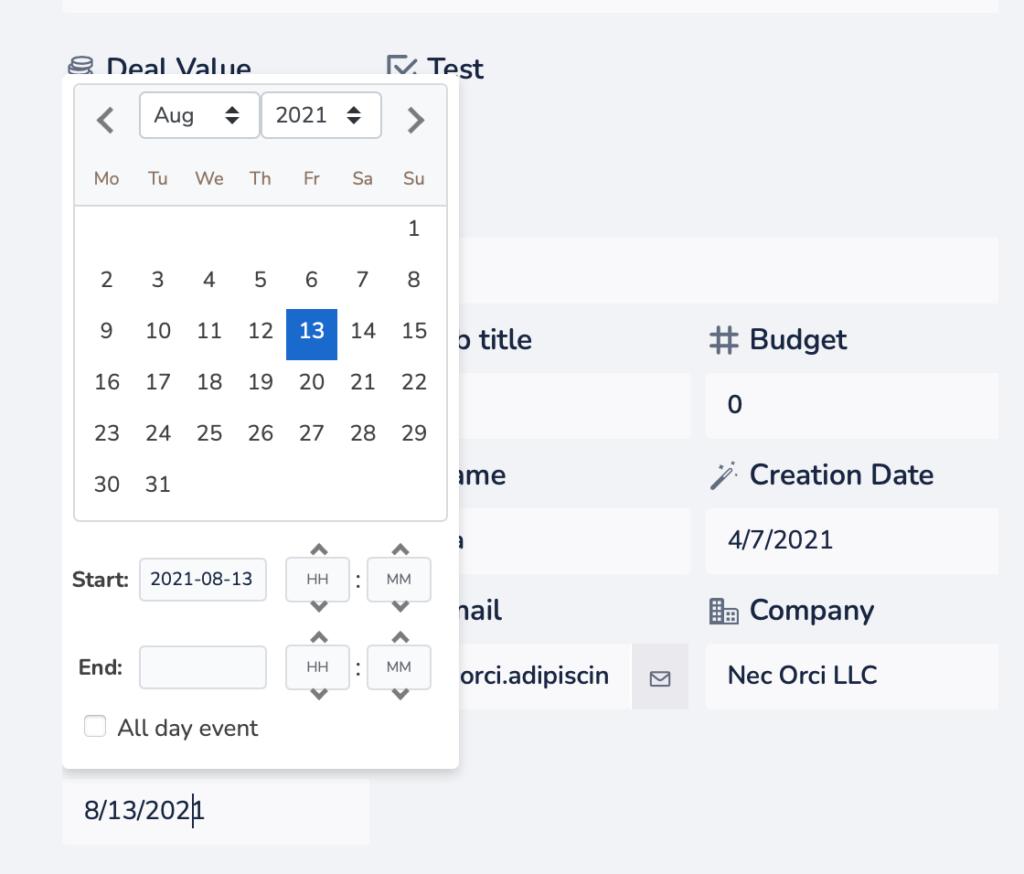 Crmble date field details