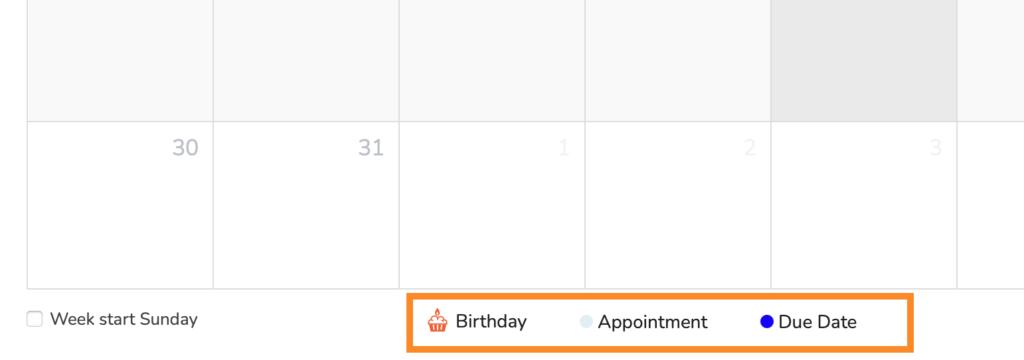 Crmble calendar filter by dates